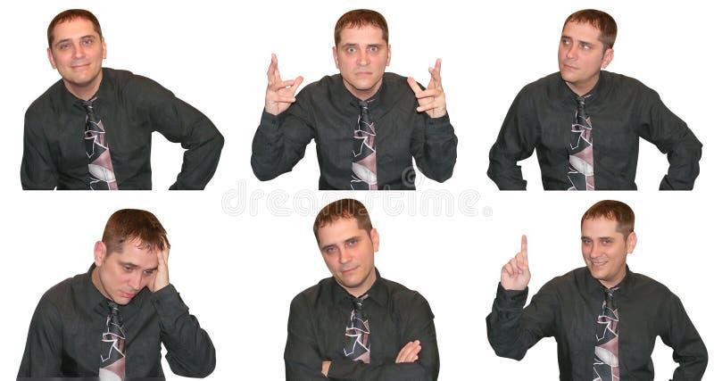Expresiones de un hombre de negocios imagenes de archivo