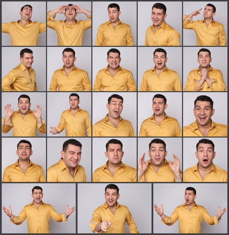 Expresiones del hombre fijadas foto de archivo
