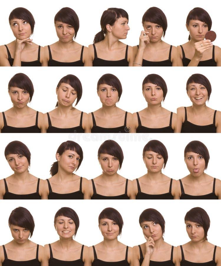 Expresiones faciales útiles. Caras del agente. foto de archivo