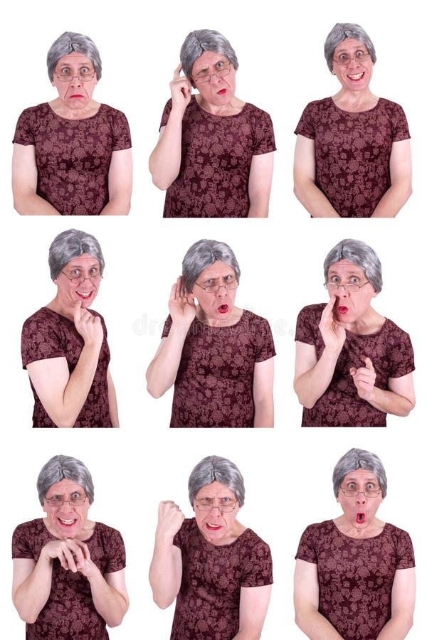 Expresiones faciales de la señora mayor de la reina fea divertida del drama fotografía de archivo libre de regalías