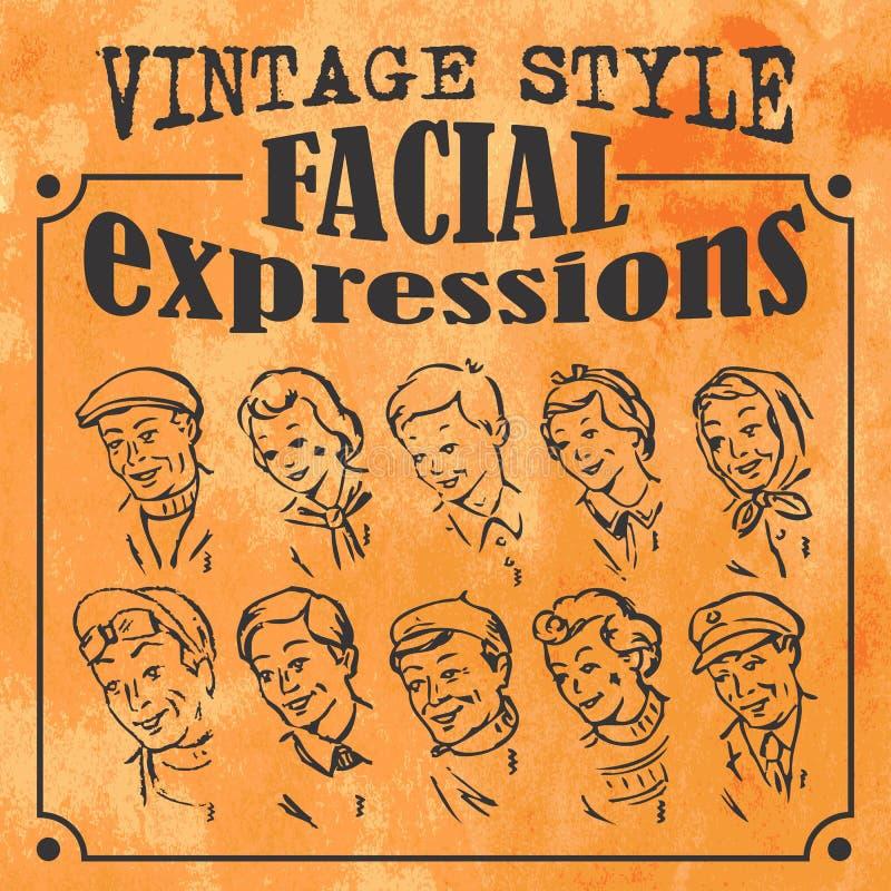 Expresiones faciales del estilo del vintage libre illustration