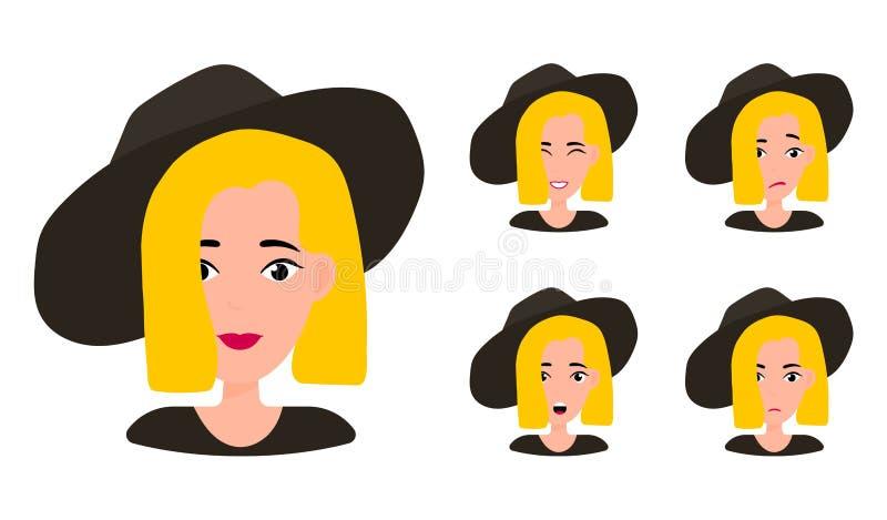 Expresiones faciales del retrato de la mujer stock de ilustración
