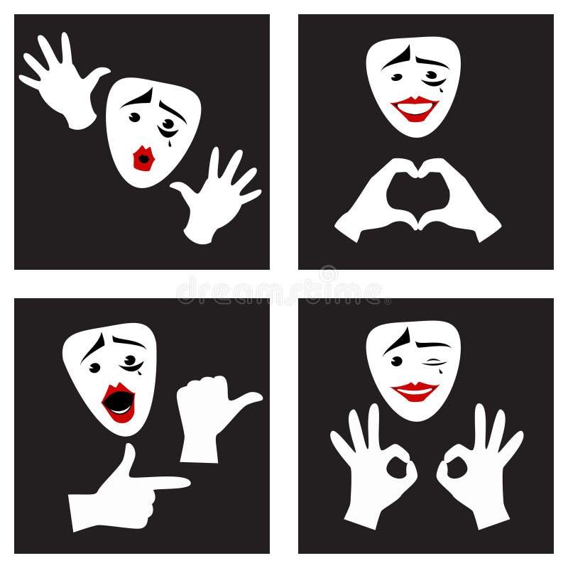 Expresiones faciales y gestos Imite la máscara y los guantes conjunto VE libre illustration