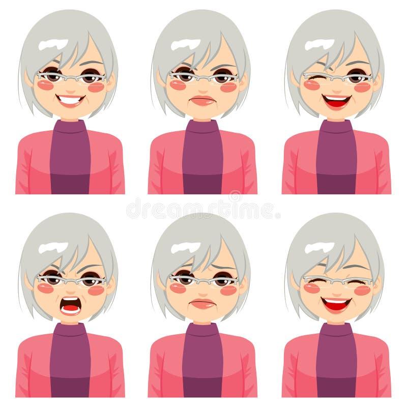 Expresiones mayores de la cara de la mujer ilustración del vector