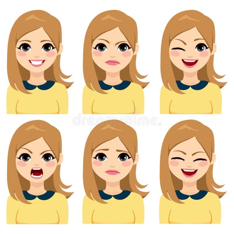 Expresiones rubias de la mujer del pelo largo ilustración del vector