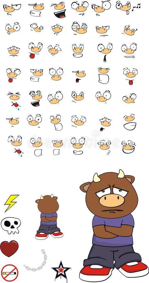 Expresiones tristes de la historieta del niño del toro fijadas libre illustration