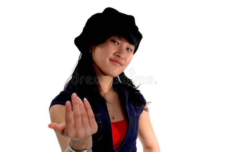 Expresions que hace señas a la muchacha foto de archivo