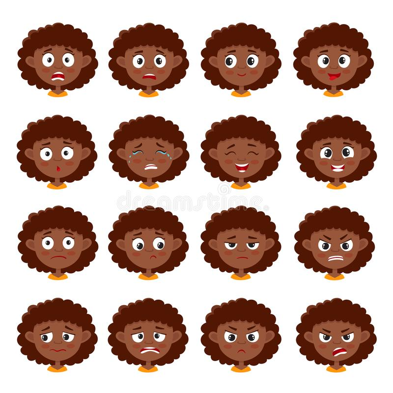 Expressão africana da cara da menina, grupo do vetor dos desenhos animados isolado no branco ilustração stock