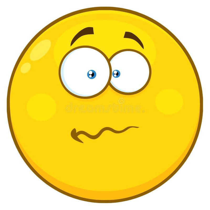 Expressão amarela nervosa de Smiley Face Character With Confused dos desenhos animados ilustração royalty free