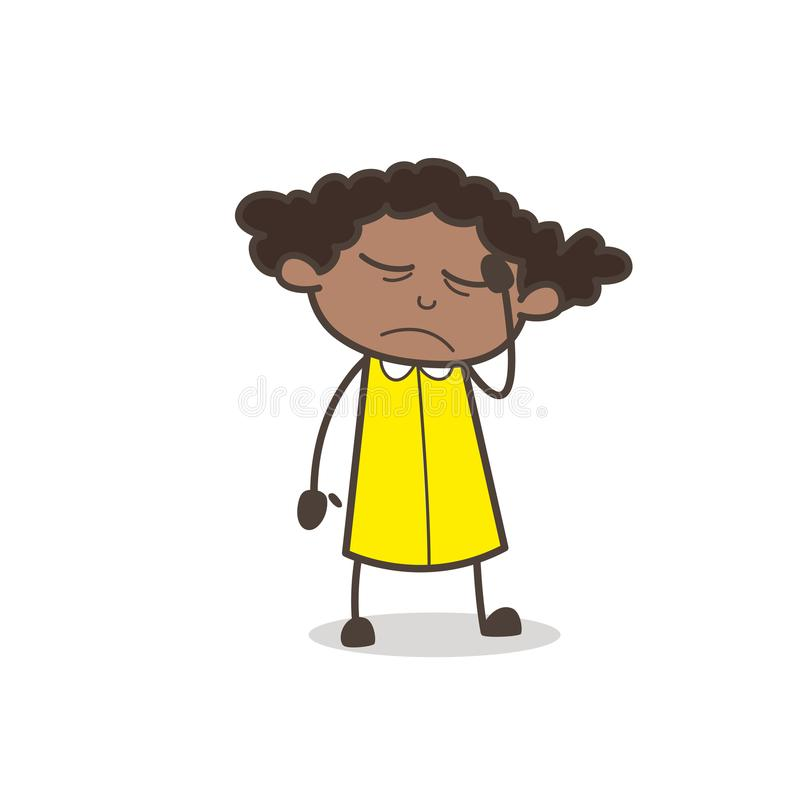 Expressão cômica virada da cara do caráter da moça ilustração royalty free