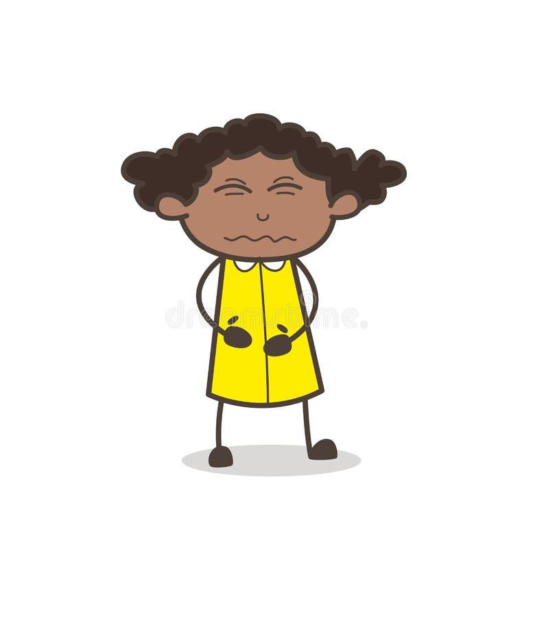 Expressão confundida da cara da criança menina cômica nova ilustração stock