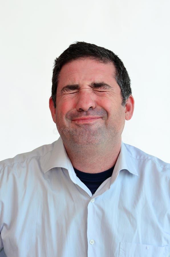 Expressão da cara da dor do homem imagens de stock royalty free