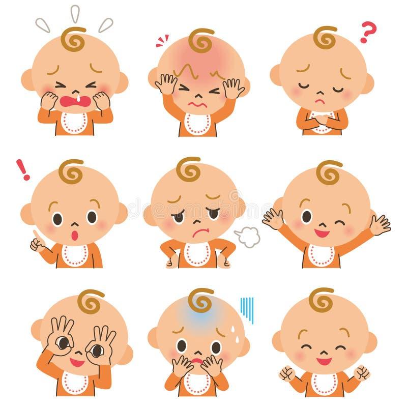 Expressão da cara do bebê ilustração do vetor