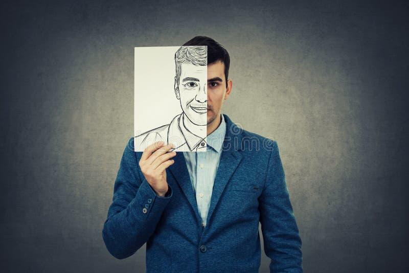 Expressão da cara do couro cru foto de stock
