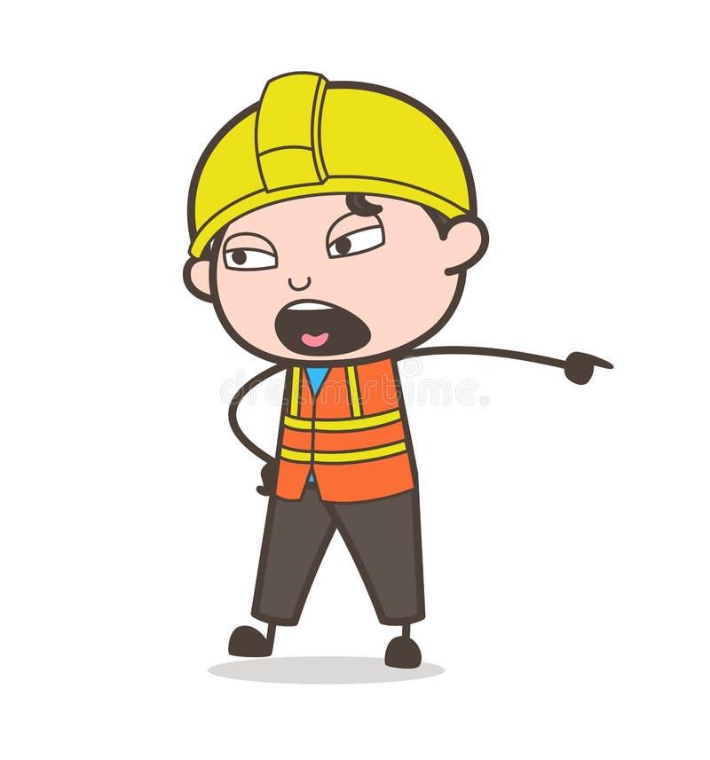 Expressão da muito irritada e gritaria - coordenador masculino Illustration dos desenhos animados bonitos ilustração stock