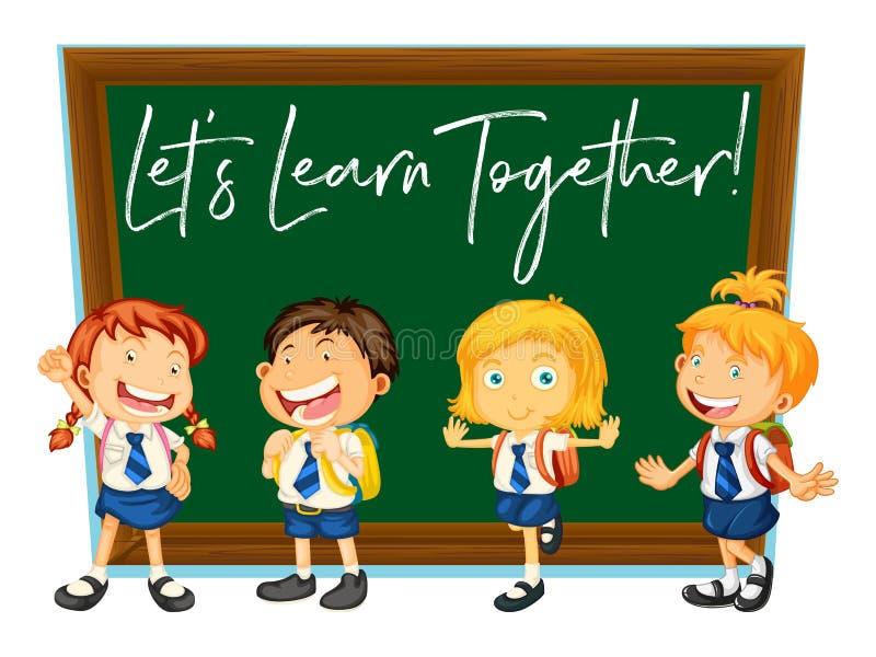 A expressão da palavra para deixou o ` s aprende junto com estudantes felizes ilustração stock