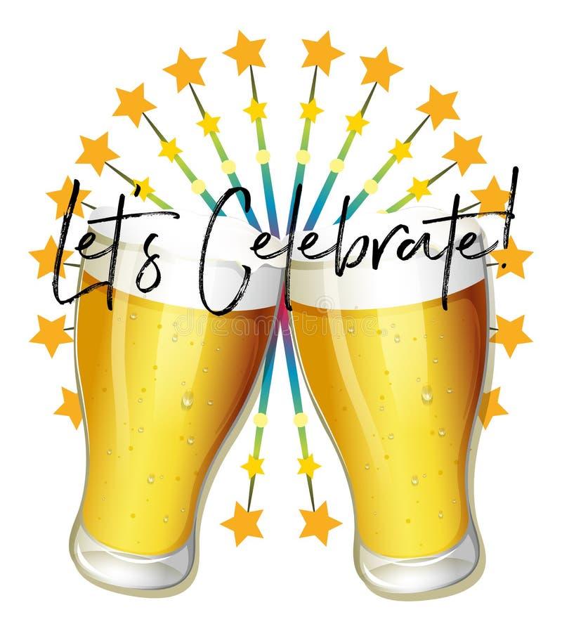 A expressão da palavra para deixou o ` s comemora com dois vidros da cerveja ilustração royalty free