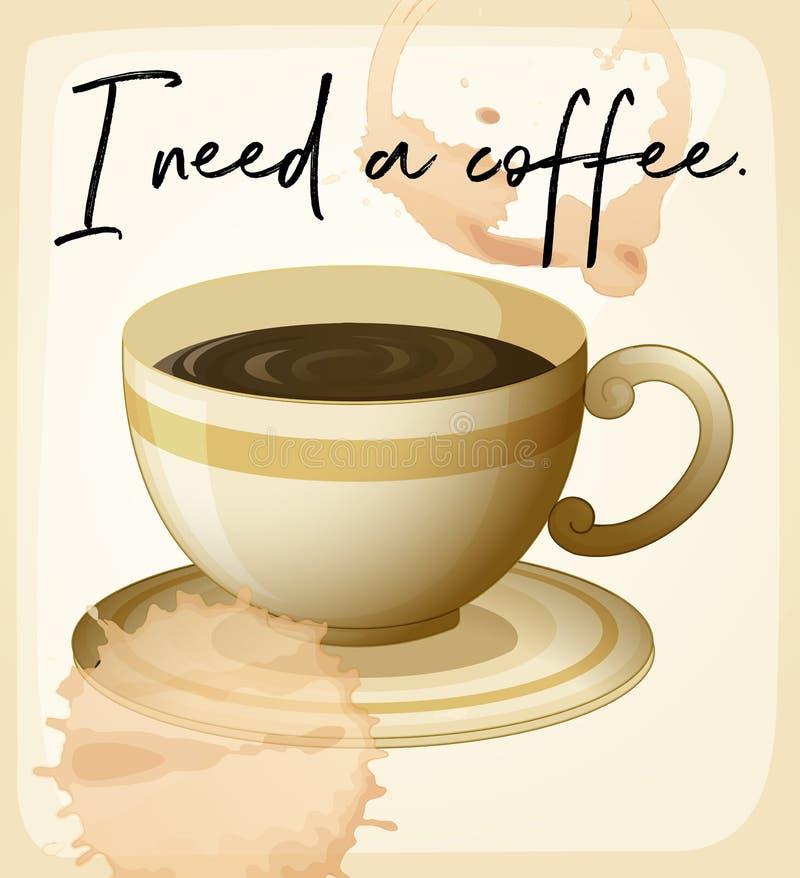 Expressão da palavra para eu preciso o café com copo de café ilustração royalty free