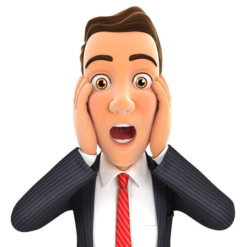 expressão da surpresa do homem de negócios 3d ilustração stock