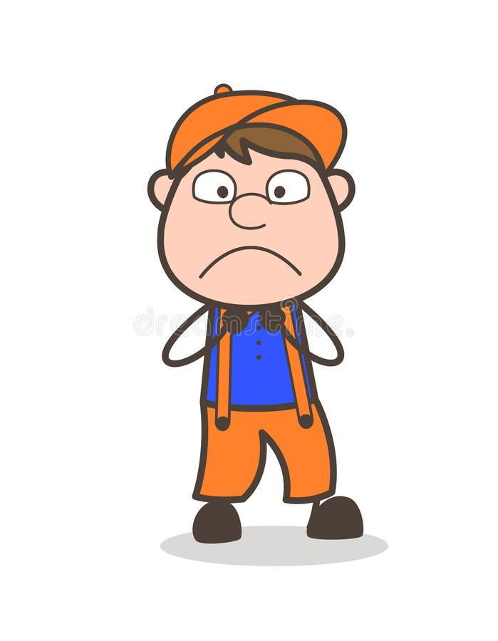 Expressão de Boy Astonished Face do carpinteiro dos desenhos animados ilustração stock