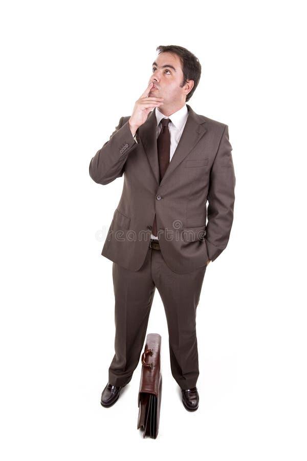 Expressão de pensamento do homem de negócios fotografia de stock