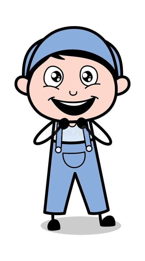 Expressão esperançosa - ilustração retro de Cartoon Worker Vetora do reparador ilustração stock