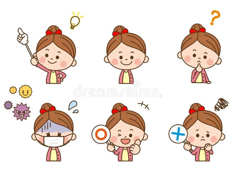 Expressão facial da menina ilustração stock