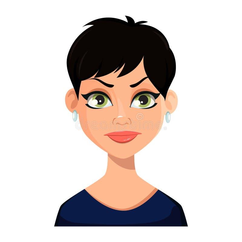 Expressão facial da mulher bonita ilustração stock