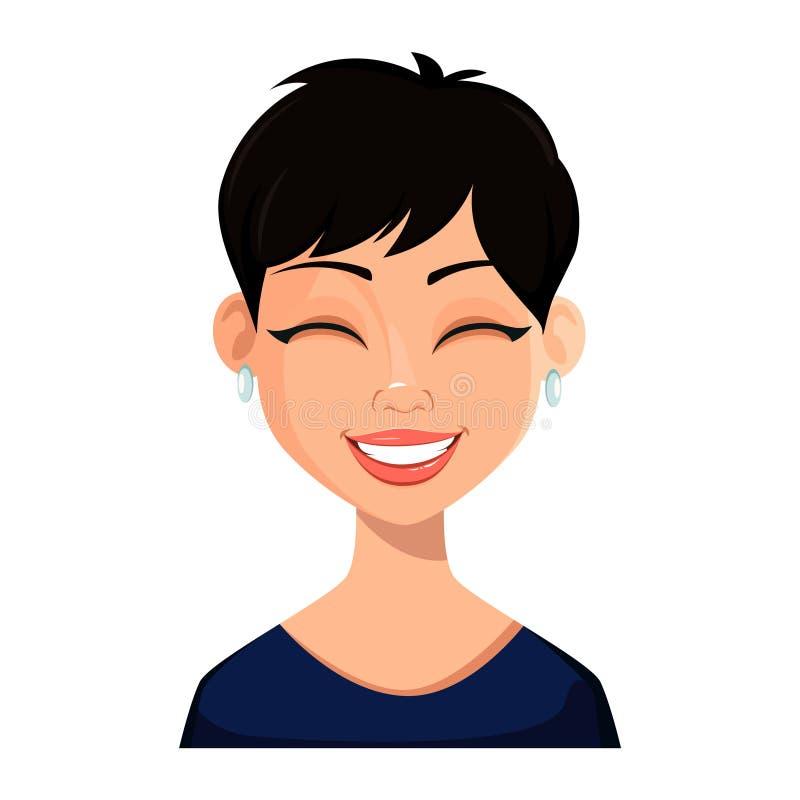 Expressão facial da mulher bonita ilustração do vetor