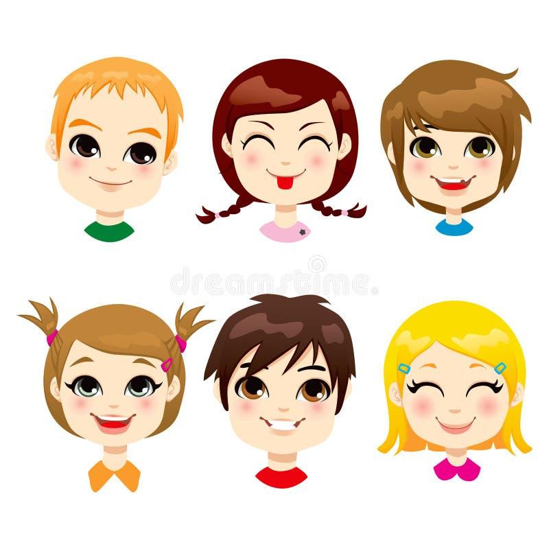 Expressão facial das crianças ilustração do vetor