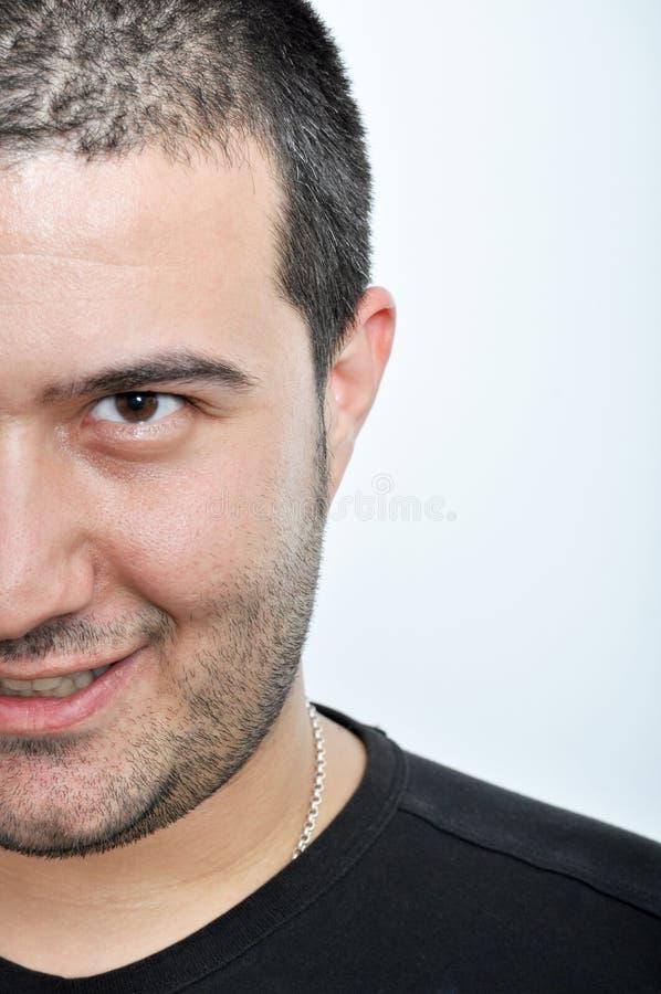 Expressão facial de homem novo imagens de stock