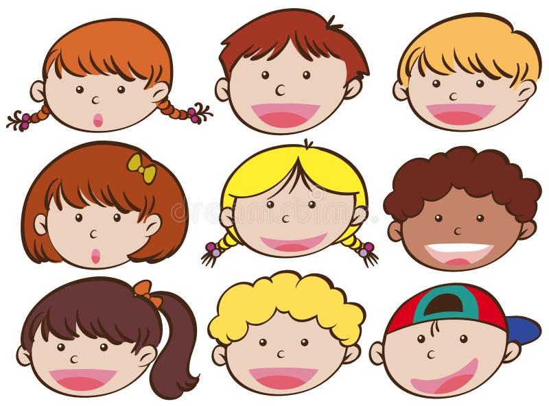 Expressão facial dos meninos e das meninas ilustração do vetor