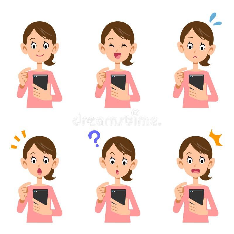 Expressão facial fêmea da operação de Smartphone ilustração stock