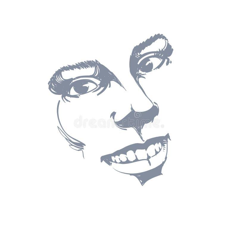 Expressão facial, ilustração desenhado à mão da cara de uma sagacidade da menina ilustração royalty free