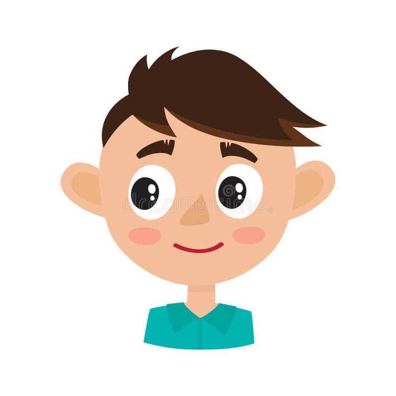 Expressão feliz da cara do menino, ilustrações do vetor dos desenhos animados isoladas no branco ilustração royalty free