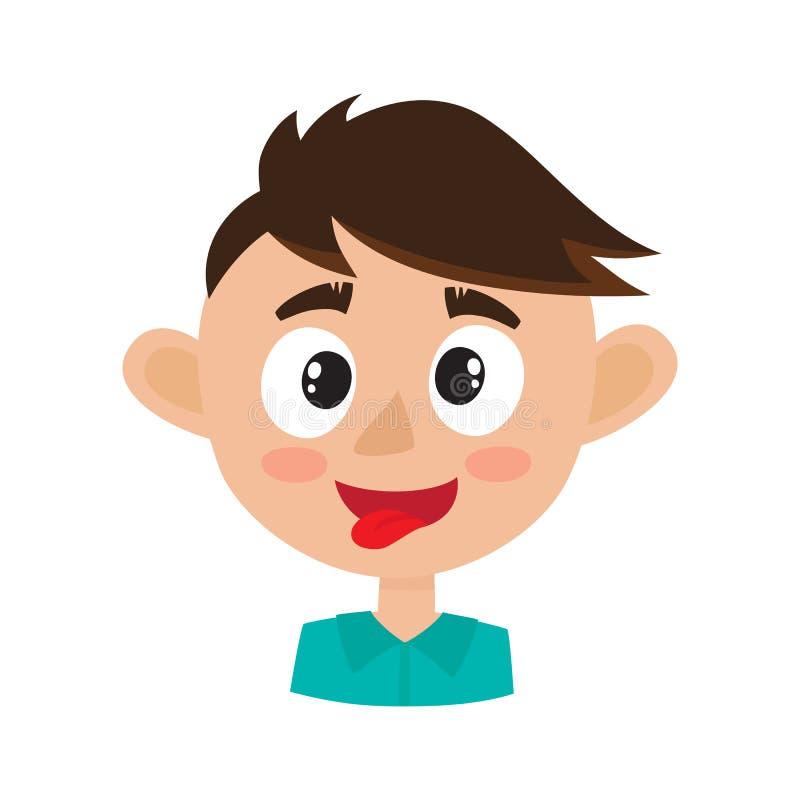 Expressão feliz da cara do menino, ilustrações do vetor dos desenhos animados isoladas no branco ilustração stock