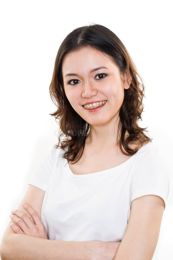 Expressão feliz da face da mulher nova imagens de stock
