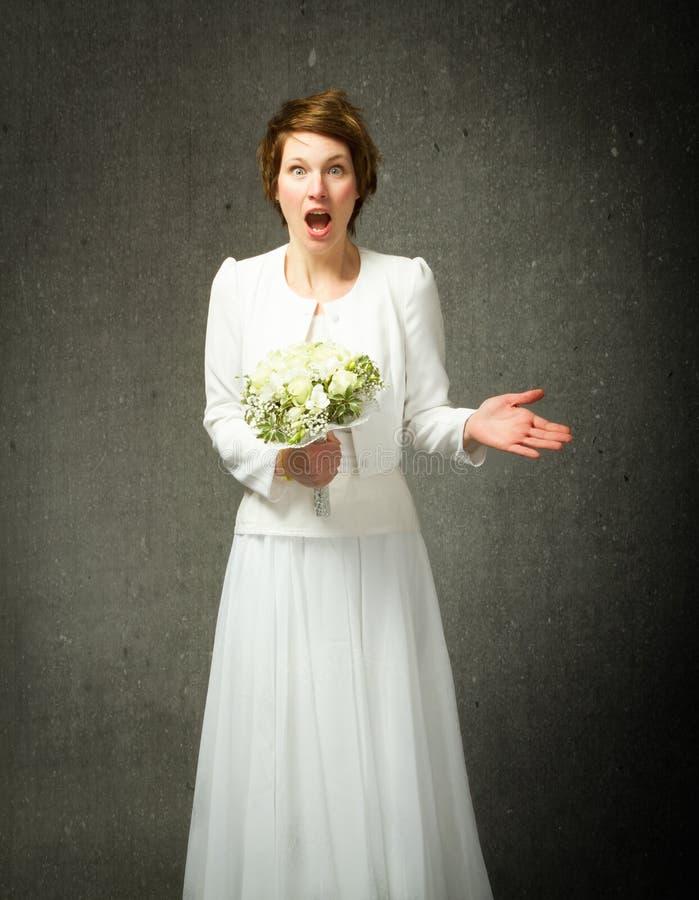Expressão inacreditável do casamento fotografia de stock royalty free