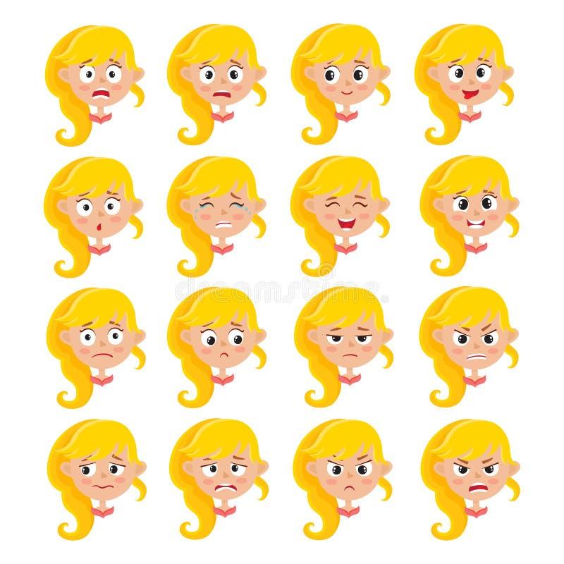 Expressão loura da cara da menina, grupo do vetor dos desenhos animados isolado no branco ilustração do vetor