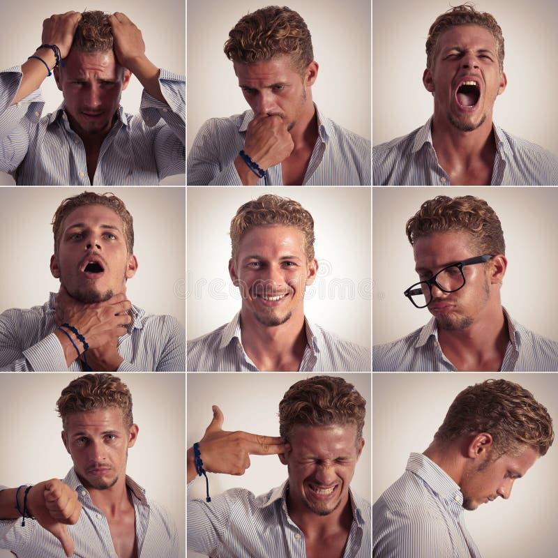 Expressão múltipla de um homem de negócios fotos de stock royalty free