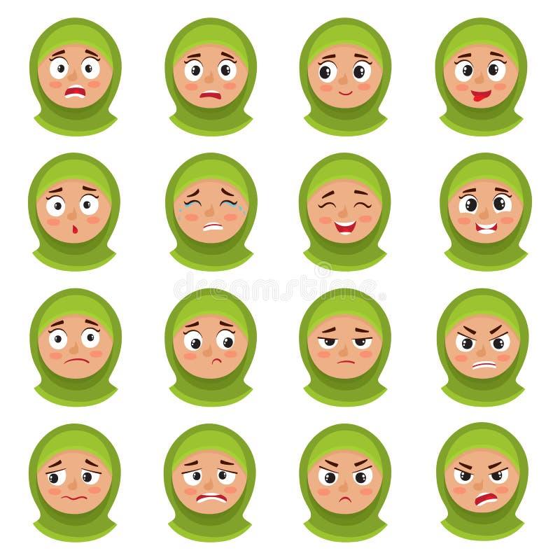 Expressão muçulmana da cara da menina, grupo do vetor dos desenhos animados isolado no branco ilustração stock