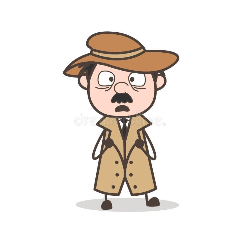 Expressão temível da cara do detetive Cartoon Vetora ilustração stock