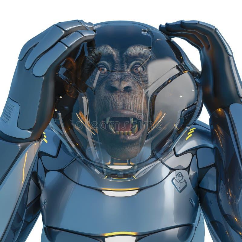 Expressão temível do astronauta do chimpanzé em um fundo branco ilustração royalty free