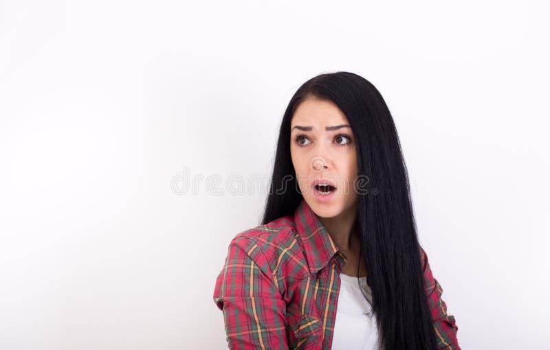 Expressão terrificada na cara da menina imagens de stock royalty free