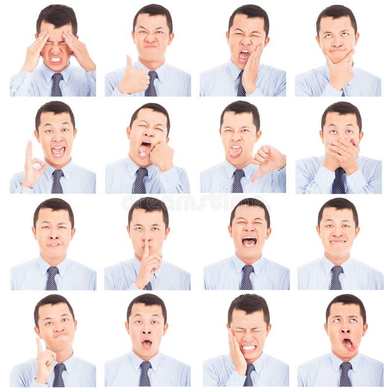 Expressões asiáticas da cara do homem novo compostas fotografia de stock royalty free