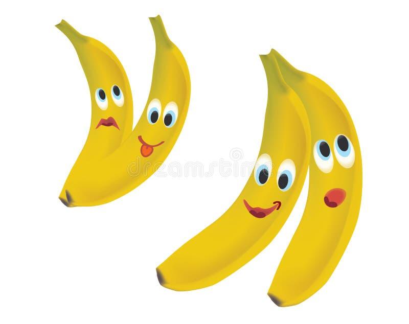 Expressões da cara da banana ilustração do vetor