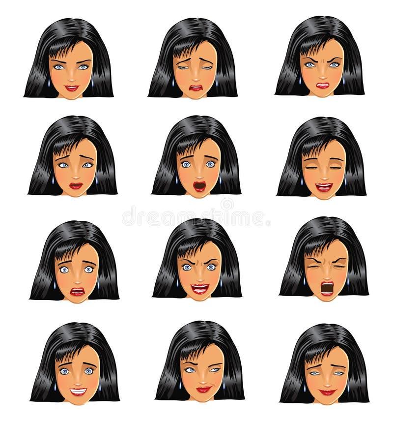 Expressões da cara da mulher ilustração stock