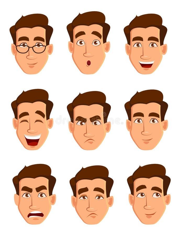 Expressões da cara de um homem Emoções masculinas diferentes ajustadas ilustração stock