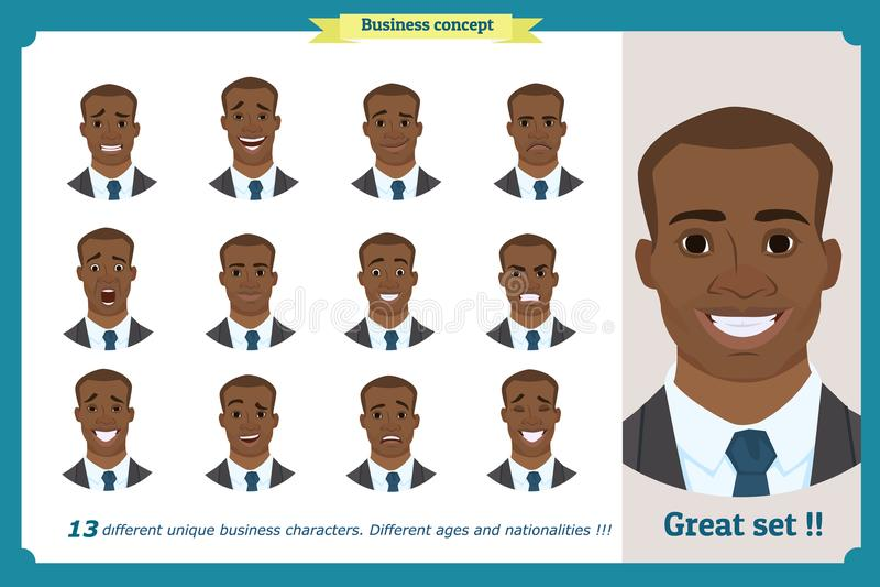 Expressões da cara de um homem personagem de banda desenhada liso Homem de negócios em um terno e em um laço Americano preto ilustração stock