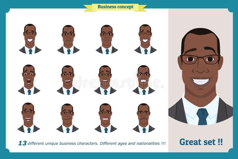 Expressões da cara de um homem personagem de banda desenhada liso Homem de negócios em um terno e em um laço Americano preto ilustração do vetor